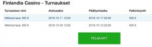 Finlandia casino turnaukset