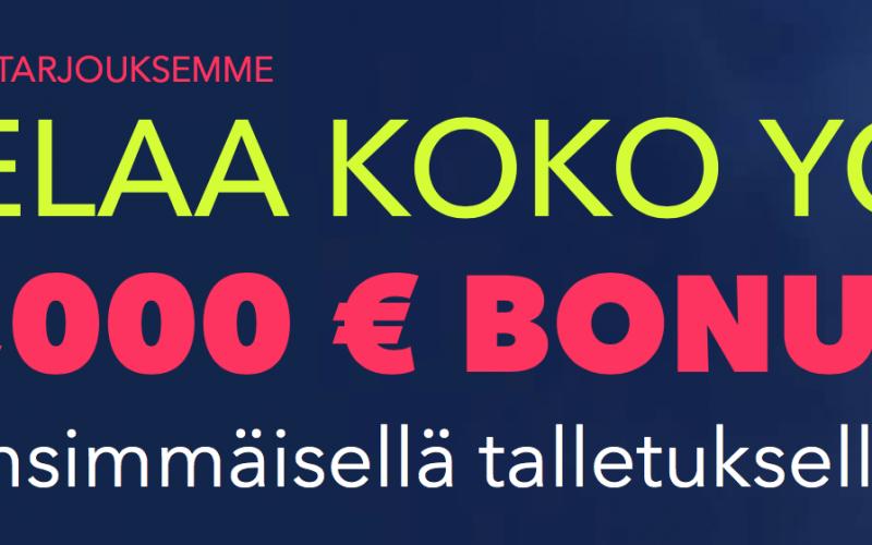 Nappaa NightRushilla viikonlopulle jopa 250 euron bonus!