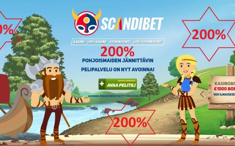 Ylimääräinen 200% kasinobonus Scandibetille!