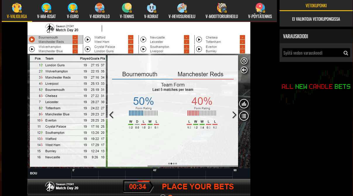 Casino Sieger virtuaaliurheilu