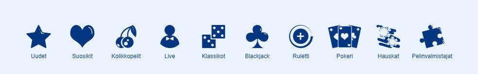 Simppeli kasino pelikategoriat