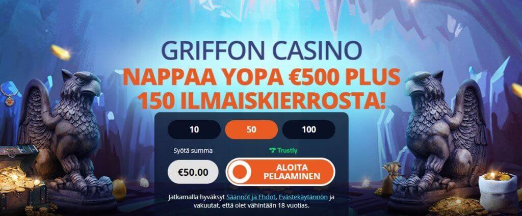 Griffon Casino bonus uudelle pelaajalle